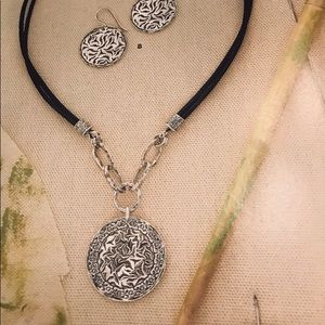 Silpada Sterling Silver & Black Leather Necklace